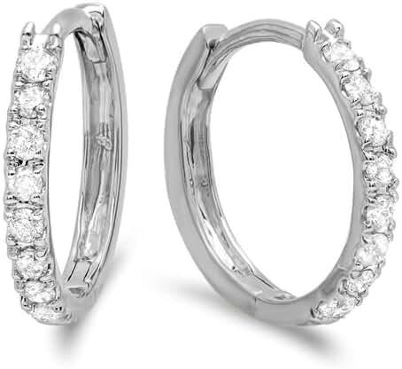 0.22 Carat (ctw) 14K Gold Real Round Cut White Diamond Ladies Huggies Hoop Earrings 1/4 CT