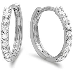 0.22 Carat (ctw) 14K Gold Real Round Cut White Diamond Ladies Huggies Hoop Earrings 1/4 CT