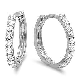 Ladies Diamond Huggies Hoop Earrings