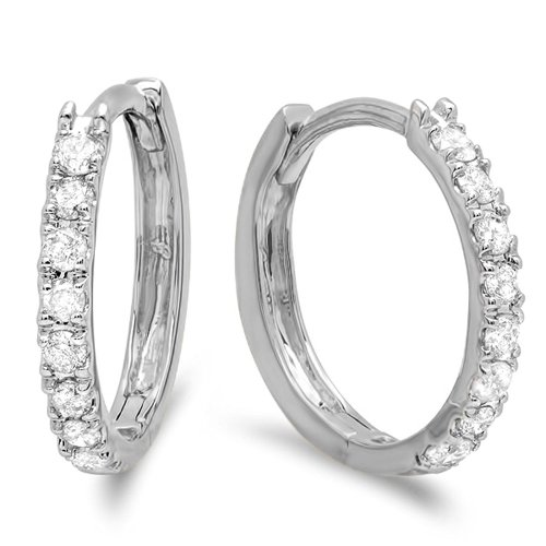 (Dazzlingrock Collection AGS CERTIFIED 0.25 Carat (ctw) 10K Round Cut Diamond Ladies Huggies Hoop Earrings 1/4 CT, White Gold)