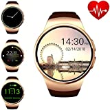 ZAOYI Bluetooth Smartwatch, Round Touch Screen Smart Watch Support SIM Card TF Card with Heart Rate Monitor for Men Women, Compatible with iOS iPhone and Android Samsung Phone(KW18-Gold)