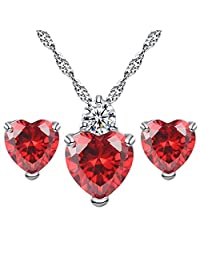 YAZILIND Jewelry Set Mother Day Gift Fashion Silver Plated Heart Pendant with Cubic Zircon Inlaid Necklace Hoop Earring Stud for Women Girls