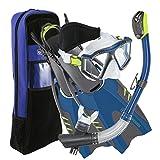 U.S. Divers Lux Platinum Snorkeling Set, Panoramic View Mask, Pivot Fins, GoPro Ready Dry Top Snorkel + Gear Bag, Dark Matter L/XL