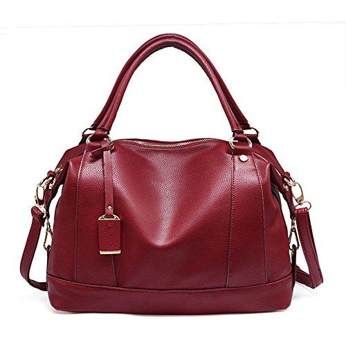 Casual Color Red Boston Red Shoulder FangYOU1314 Line Bag Litchi Messenger dvdfqaw
