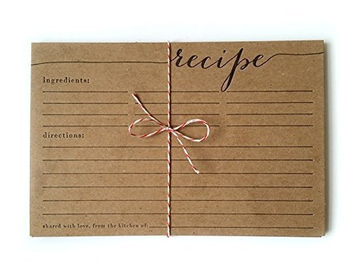 - letterpress recipe card set, rustic, country, housewarming, calligraphy, unique gift, christmas