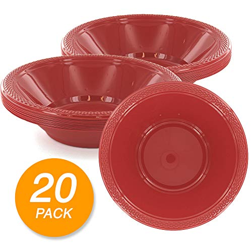 - SparkSettings Reusable Plastic Bowls Washable BPA Free Cereal Bowl Perfect for for Salad, Fruit, Dessert, Snack, Small Serving and Mixing Bowls - Apple Red, Pack of 20