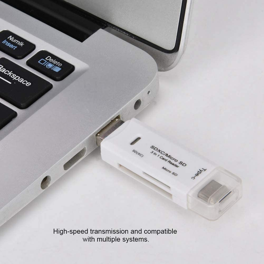 Black Computer and Micro SD Card V BESTLIFE Micro USB Card Reader,Multifunctional 3 in 1 Type-C Micro USB Card Reader with LED Indicator for Mobile Phone