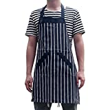 Cotton Kitchen Cooking Apron Workshop Apron with White Black Pinstripe Chef Bib Apron with Side Pocket Adjustable Waist Ties for Cooking Baking Grilling Pottery Tool Apron for Women Men HSW-020-002