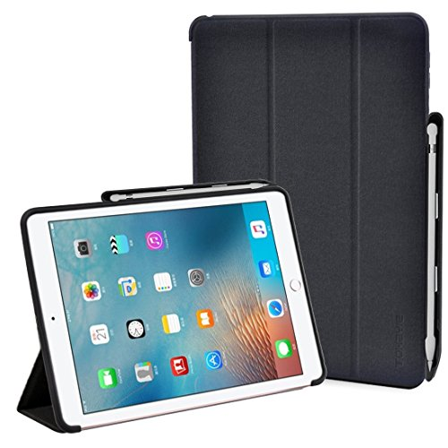 Brief Bag Business Case - iPad Pro 9.7 Case, ToHayie [Brief Business Style] Premium PU Slim Fit Flip Folio Case with Apple Pencil Holder, [Stand Feature], Auto Sleep/Wake Smart Fabric Cover for iPad pro 9.7 inch-Black (MM627)