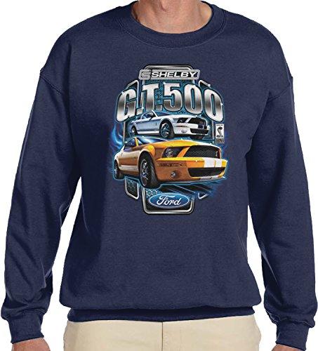Amdesco Men's Ford Shelby Mustang GT500 Crewneck Sweatshirt, Navy Blue Large ()