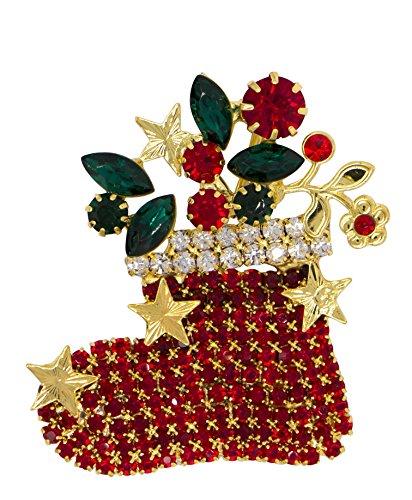 DennyBlaine & Co. Christmas Crystal Rhinestone Designer Style Brooch (Stocking Gold Tone) - Designer Gold Tone Brooch