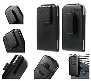 DFV mobile - Magnetic leather holster case belt clip rotary 360º for => BungBungame Wolf > Black
