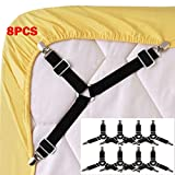 Enjoygous 8PCS Bed Sheet Holder Straps Adjustable Triangle Sheet Straps Fitted Sheet Straps Suspenders Fastener Grippers Corner Holder for King Queen Twin Size,Mattress Covers, Sofa Cushion (A)