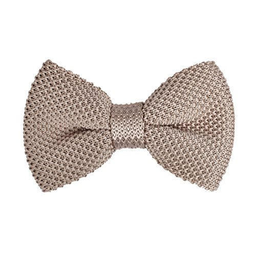 DBG3E01C Light Tan Solid Collection Design Pre-tied Bow Tie Woven Microfiber Working Day Designer By Dan (Woven Design Bow Tie)
