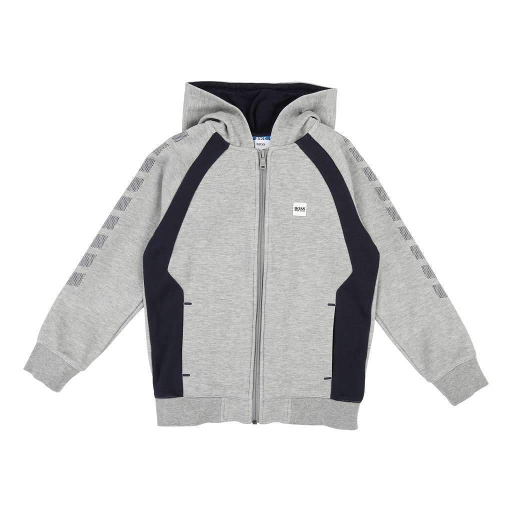 Hugo Boss Kids Gray Marl Hooded Cardigan