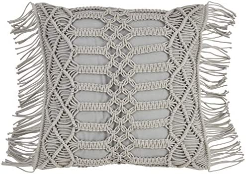 SARO LIFESTYLE Collection Cotton Down Filled Macram Throw Pillow, 18 , Grey