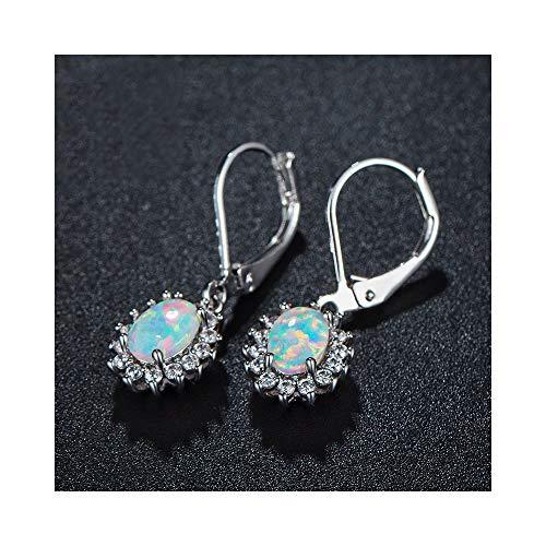 Fire Opal Dangle Leverback Earrings 18k White Gold Plated Halo CZ for Women Girls Hypoallergenic