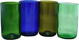product image for Tumbler Drinking Glasses Made From Recycled Wine Bottles 16 OZ - set of 4 (Mixed, 16 Oz) Bottom styles may vary
