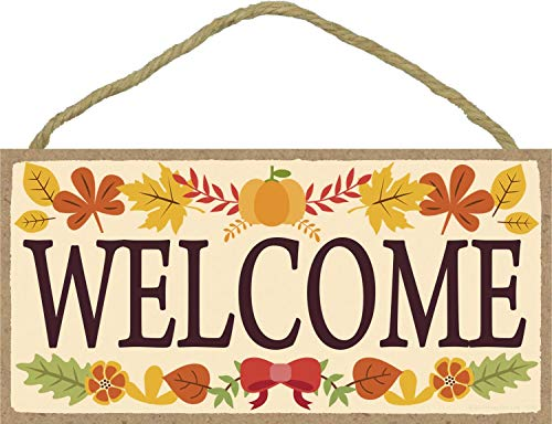 Welcome Sign with Fall Leaves - 5 x 10 inch Hanging Signs, Wall Art, Decorative Wood Sign, Fall Signs -