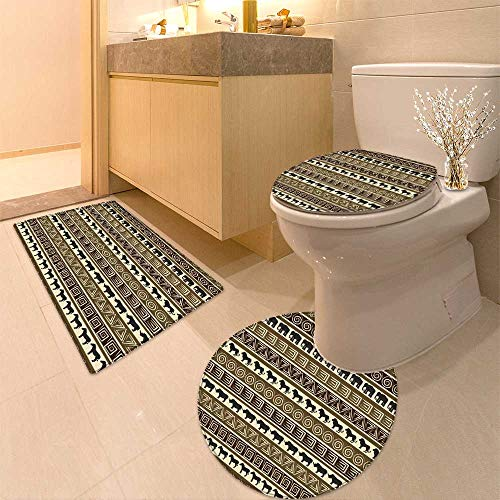 HuaWuhome 3 Piece Shower Mat Set African Style Seamless with Wild Animals Customized by HuaWuhome