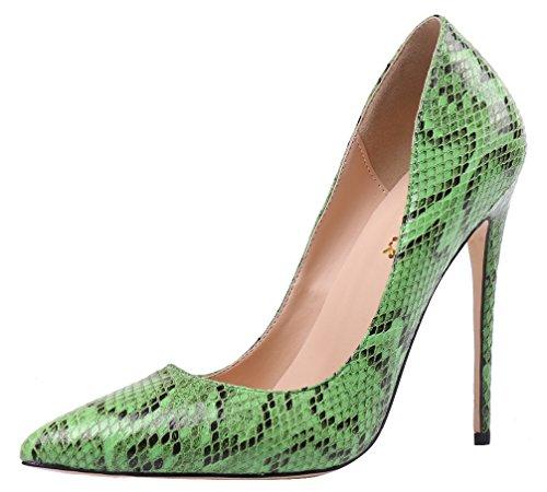 AOOAR Damen Schlangenhaut Stiletto Partei Pump Schuhe Grün