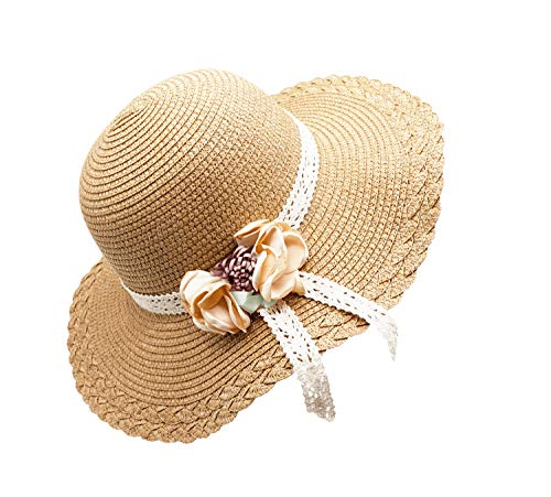 Bienvenu Kids Girls Summer Straw Hat Flower Beach Sun Protection Hats,Flower style_Khaki -