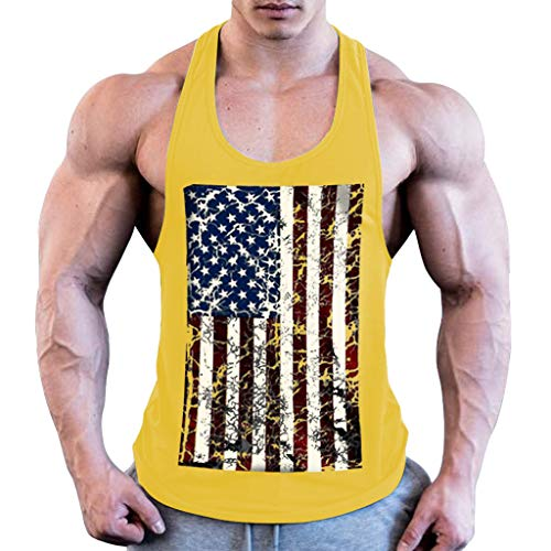 8def958420c VigorY Men's Patriotic American Flag Print Vest Blouse Fitness Muscle  Elastic Sleeveless Tees Round Neck Slim