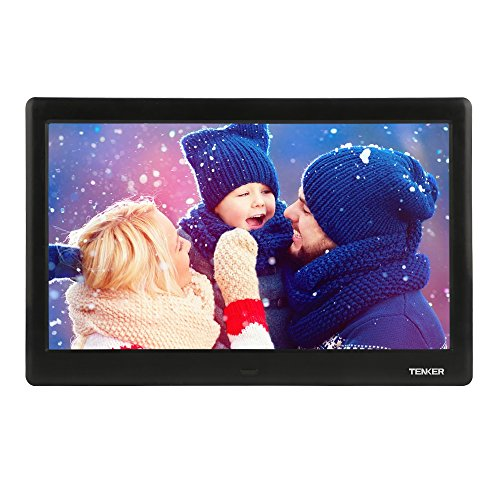TENKER 10-inch HD Digital Photo Frame IPS LCD Screen with Auto-Rotate/Calendar/Clock Function, MP3/Photo/Video Player with Remote Control (Black) from TENKER