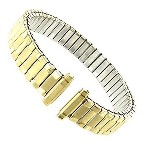(Women's Stainless Steel Stretch Watch Band, Flex Radial Expansion Replacement Strap, 10-13 mm - Yellow Gold Tone)