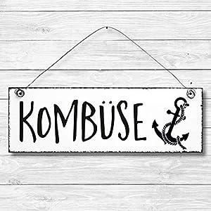 Kombüse - Küche Maritim Anker Dekoschild Türschild Wandschild aus Holz 10x30cm - Holzdeko Holzbild Deko Schild