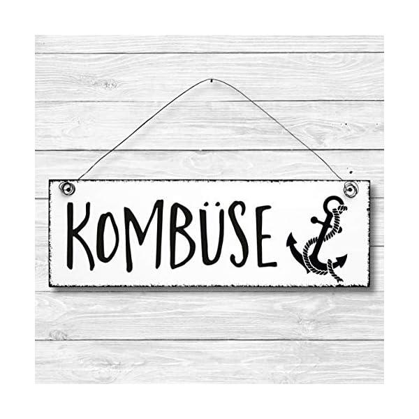51vV1jFf%2BQL Kombüse - Küche Maritim Anker Dekoschild Türschild Wandschild aus Holz 10x30cm - Holzdeko Holzbild Deko Schild