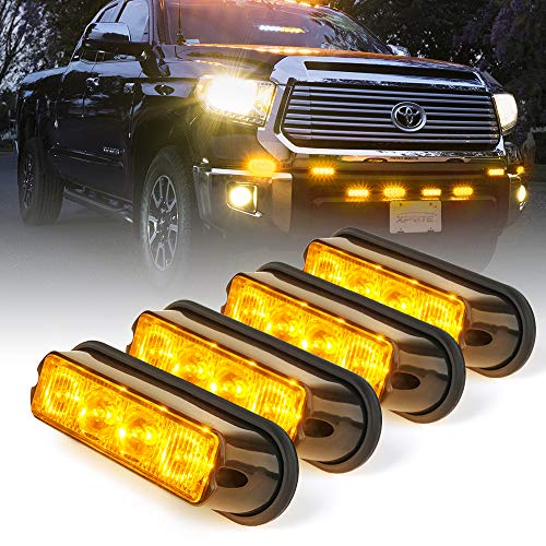 - Xprite Amber Yellow 4 LED 4 Watt Emergency Vehicle Waterproof Surface Mount Deck Dash Grille Strobe Light Warning Police Light Head with Clear Lens - 4 Pack