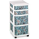 Artistic Bird Pattern Plastic Frame 4 Sturdy Fabric Freestanding Drawers, Set of 3