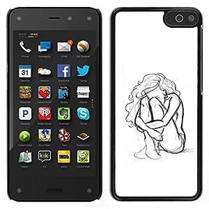Caucho caso de Shell duro de la cubierta de accesorios de protección BY RAYDREAMMM - Amazon Fire Phone - Mujer Chica Depresión Heartbreak Sad