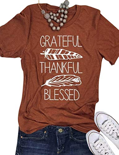 (SCX Women Letter Print T-Shirt Grateful Thankful Blessed Letter Leaf Short Sleeve)
