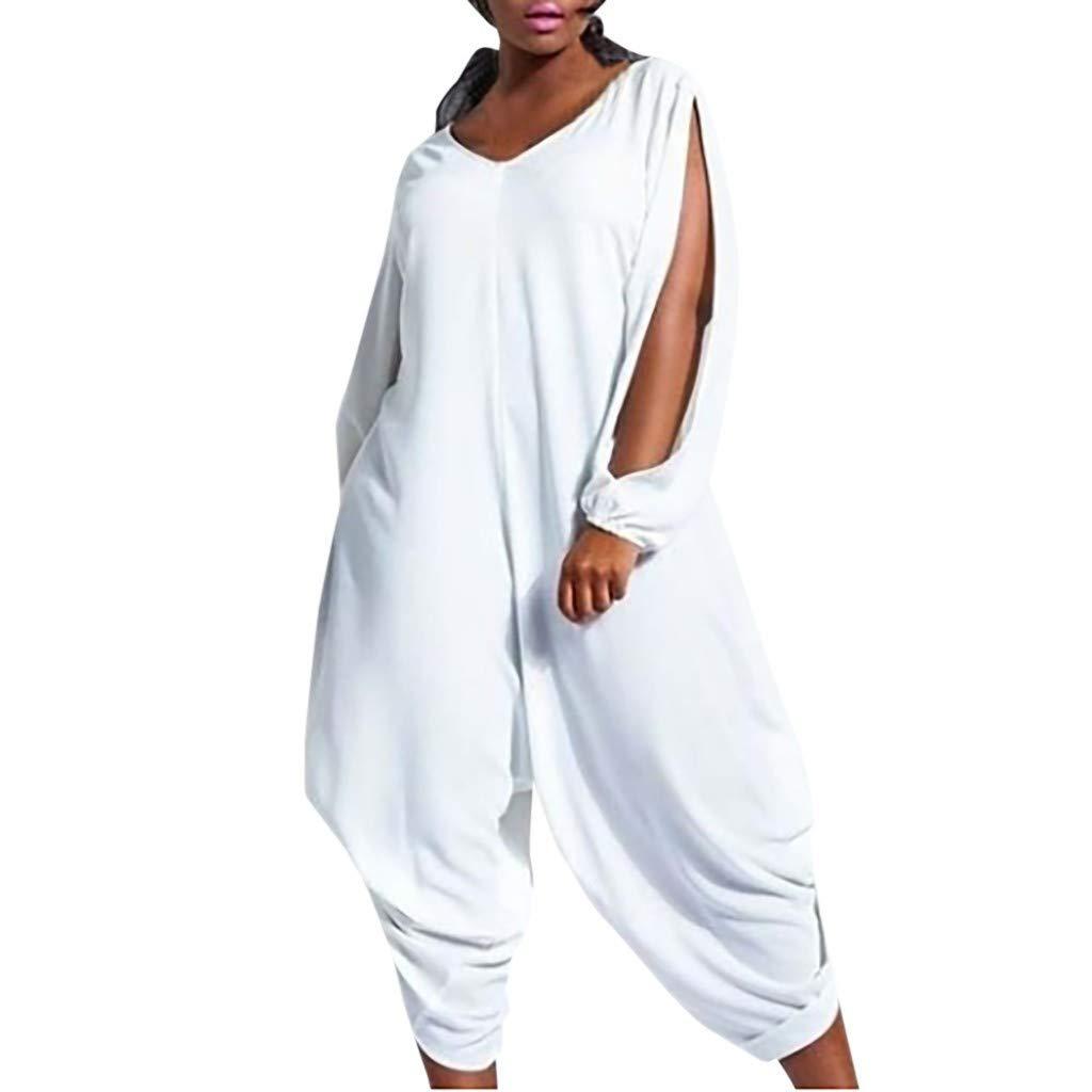 Women's Summer Casual Long Sleeve Split Wide Leg Jumpsuits Rompers Plus Size