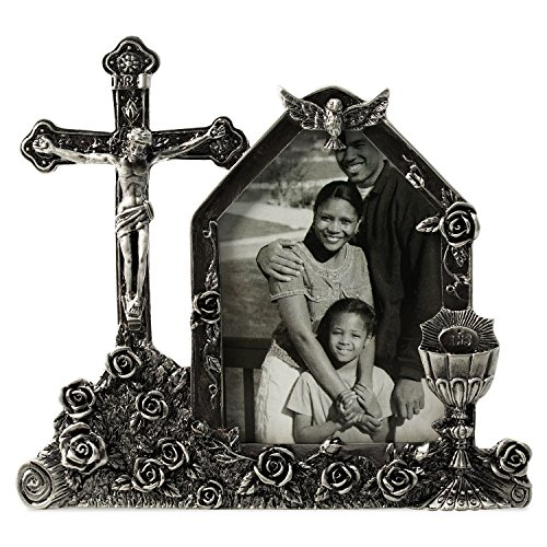 WorldWide Selection Home - Metal Photo Frame/Picture Frame, 2.5 x 3.5 inch, Real Clear Glass Front Cover, Crucifix, Zinc Patina Plated, Tabletop Vertically ()