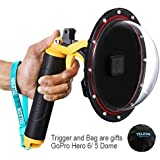 YOEMELY 6 Inch Dome Port for GoPro Hero 5 Black with Waterproof Diving Housing Trigger and Protective Bag for Underwater Photography (T05)