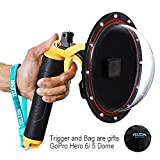 Photo : YOEMELY 6 inch Dome Port for GoPro HERO 6 / HERO 5 with Waterproof Housing, Handheld Floating Grip, Trigger Pistal and Lens Cover Bag for Underwater Photography (T05)