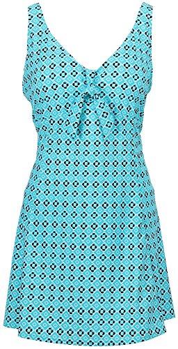 Bawdy Women's Plus Size One Piece Swimdress Swimsuit, Blue Black White, XXL