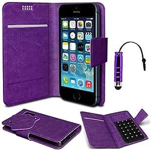 N4U Online® - Nokia Lumia Pad Monedero succión Cuero 620 Púrpura PU Cubierta y Mini Stylus Pen