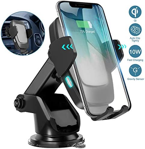 Wireless Car Charger Mount, Cshidworld Auto Clamping 10W 7.5W Qi Fast Charging Car Mount, Windshield Dashboard Air Vent Phone Holder Compatible with iPhone 11 Xs Max XR 8 Plus, Samsung S10 S9 S8