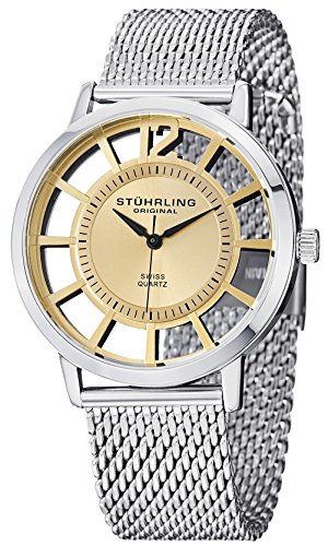 Stuhrling Original Men's 388M.03 Winchester Del Sol Elite Stainless Steel Watch with Mesh Bracelet