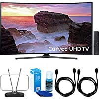 Samsung UN65MU6500 Curved 65 4K Ultra HD Smart LED TV (2017 Model) w/ TV Cut The Cord Bundle Includes, 2x 6ft. High Speed HDMI Cable, Durable HDTV & FM Antenna, & Screen Cleaner LED TVs