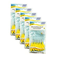 Yellow TePe Interdental Brushes 0.7mm - 5 Packets of 8 (40 Brushes)