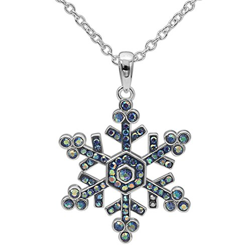 (CRYSTALOGY Women's Jewelry Silver Plated Brass Light Blue Crystal Snowflake Pendant Necklace, 18