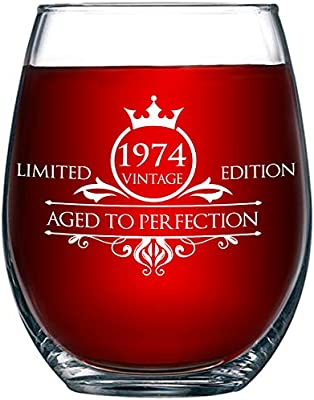 1974 45th Birthday Gifts For Women And Men Wine Glass