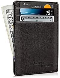 Slim Minimalist Wallets For Men & Women - Genuine Leather Front Pocket Wallet Card Holder With Gifts Box RFID Blocking