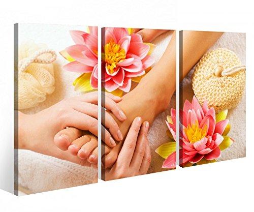 Leinwandbild 3 Tlg. Wellness Massage Fuß Pediküre Spa Leinwand Bild Bilder auf Keilrahmen Holz - fertig gerahmt 9O900, 3 tlg BxH 120x80cm (3Stk 40x 80cm)
