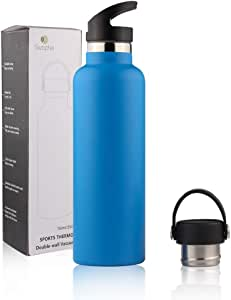 Sivaphe Insulated Water Bottle with 2 lids, Stainless Steel and Vacuum Thermos, Keeping Cold 24 hrs and Hot 12 hrs for Traveling Camping Hiking